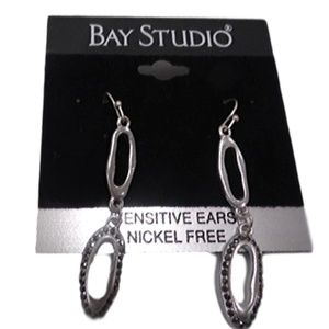Bay Studio Silver Dangle Earrings w black stones